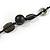 Black/ Brown Wood, Ceramic, Metal Beaded Black Cord Necklace - 96cm Long - view 5