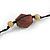 Black/ Brown Wood, Ceramic, Metal Beaded Black Cord Necklace - 96cm Long - view 6