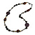 Statement Ceramic/ Wood Bead and Metal Ring Cotton Cord Long Necklace ( Brown, Plum) - 96cm L