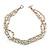 3 Strand White Ceramic, Silver Acrylic Bead Necklace - 44cm L - view 3