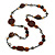 Statement Ceramic/ Wood Bead and Metal Ring Cotton Cord Long Necklace ( Brown/ Natural) - 100cm L - view 3