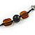 Statement Ceramic/ Wood Bead and Metal Ring Cotton Cord Long Necklace ( Brown/ Natural) - 100cm L - view 5