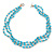 3 Strand Light Blue Ceramic, Silver Acrylic Bead Necklace - 44cm L - view 4