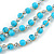 3 Strand Light Blue Ceramic, Silver Acrylic Bead Necklace - 44cm L - view 3
