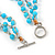 3 Strand Light Blue Ceramic, Silver Acrylic Bead Necklace - 44cm L - view 5