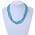 3 Strand Light Blue Ceramic, Silver Acrylic Bead Necklace - 44cm L - view 2