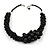 Statement Chunky Black Bead Cluster Cord Necklace - 48cm L/ 3cm Ext