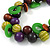 Chunky Cluster Wood, Resin Bead Black Cotton Cord Necklace (Olive, Brown, Purple, Green) - 84cm L/ 185g - view 2