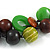 Chunky Cluster Wood, Resin Bead Black Cotton Cord Necklace (Olive, Brown, Purple, Green) - 84cm L/ 185g - view 3