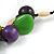 Chunky Cluster Wood, Resin Bead Black Cotton Cord Necklace (Olive, Brown, Purple, Green) - 84cm L/ 185g - view 4