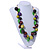 Chunky Cluster Wood, Resin Bead Black Cotton Cord Necklace (Olive, Brown, Purple, Green) - 84cm L/ 185g - view 5