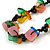 Multicoloured Square Shape Resin and Black Round Wood Bead Cotton Cord Necklace - 72cm L - view 3