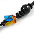 Multicoloured Square Shape Resin and Black Round Wood Bead Cotton Cord Necklace - 72cm L - view 4