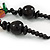 Multicoloured Square Shape Resin and Black Round Wood Bead Cotton Cord Necklace - 72cm L - view 5