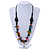 Multicoloured Square Shape Resin and Black Round Wood Bead Cotton Cord Necklace - 72cm L - view 2