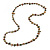 Long Olive Green/ Brown Shell Nugget and Glass Crystal Bead Necklace - 110cm L