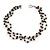 3 Strand Black Ceramic, Silver Acrylic Bead Necklace - 44cm L - view 2