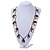 Boho Style Shell, Ceramic, Bone Charm with Bronze Tone Chain Necklace - 76cm L - view 2