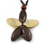 Oversized Brown/ Beige Resin Flower Pendant with Cotton Cord - 46cm L/ 10cm Flower