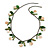 Boho Style Shell, Ceramic, Bone Charm with Bronze Tone Chain Necklace (Green/ Natural) - 76cm L
