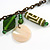Boho Style Shell, Ceramic, Bone Charm with Bronze Tone Chain Necklace (Green/ Natural) - 76cm L - view 4