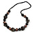 Statement Chunky Resin, Wood Bead with Cotton Cord Long Necklace (Brown/ Black) - 80cm Long