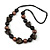 Statement Chunky Resin, Wood Bead with Cotton Cord Long Necklace (Brown/ Black) - 80cm Long - view 3