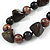 Statement Chunky Resin, Wood Bead with Cotton Cord Long Necklace (Brown/ Black) - 80cm Long - view 4