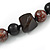 Statement Chunky Resin, Wood Bead with Cotton Cord Long Necklace (Brown/ Black) - 80cm Long - view 5