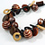 Chunky Wood, Ceramic Bead Cluster Black Cotton Cord Necklace (Brown/ Yellow) - 66cm L - view 3