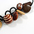 Chunky Wood, Ceramic Bead Cluster Black Cotton Cord Necklace (Brown/ Yellow) - 66cm L - view 4