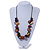 Chunky Wood, Ceramic Bead Cluster Black Cotton Cord Necklace (Brown/ Yellow) - 66cm L - view 2