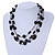 3 Strand Black Glass & Ceramic Bead Necklace In Silver Tone - 50cm L/ 3cm Ext - view 2