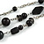 3 Strand Black Glass & Ceramic Bead Necklace In Silver Tone - 50cm L/ 3cm Ext - view 3