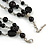 3 Strand Black Glass & Ceramic Bead Necklace In Silver Tone - 50cm L/ 3cm Ext - view 4