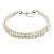 Two Row Light Cream Faux Glass Pearl Rigid Choker Necklace with Silver Tone Closure - 34cm L/ 4cm Ext - view 2