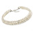 Two Row Light Cream Faux Glass Pearl Rigid Choker Necklace with Silver Tone Closure - 34cm L/ 4cm Ext - view 3