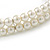 Two Row Light Cream Faux Glass Pearl Rigid Choker Necklace with Silver Tone Closure - 34cm L/ 4cm Ext - view 4