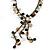 Vintage Inspired Black Ceramic Bead, White Faux Pearl, Sea Shell Bronze Tone Chain Tassel Necklace - 54cm L/ 8cm Ext/ 14cm Tassel - view 3