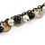 Vintage Inspired Black Ceramic Bead, White Faux Pearl, Sea Shell Bronze Tone Chain Tassel Necklace - 54cm L/ 8cm Ext/ 14cm Tassel - view 5
