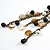 Vintage Inspired Black Ceramic Bead, White Faux Pearl, Sea Shell Bronze Tone Chain Tassel Necklace - 54cm L/ 8cm Ext/ 14cm Tassel - view 6