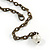 Vintage Inspired Black Ceramic Bead, White Faux Pearl, Sea Shell Bronze Tone Chain Tassel Necklace - 54cm L/ 8cm Ext/ 14cm Tassel - view 7