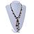 Vintage Inspired Black Ceramic Bead, White Faux Pearl, Sea Shell Bronze Tone Chain Tassel Necklace - 54cm L/ 8cm Ext/ 14cm Tassel - view 2