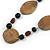 Brown/ Black Ceramic/ Wood Bead Black Faux Leather Cord Necklace - 78cm L - view 3