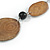 Brown/ Black Ceramic/ Wood Bead Black Faux Leather Cord Necklace - 78cm L - view 4