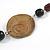 Brown/ Black Ceramic/ Wood Bead Black Faux Leather Cord Necklace - 78cm L - view 5