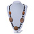 Brown/ Black Ceramic/ Wood Bead Black Faux Leather Cord Necklace - 78cm L - view 2