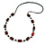 Mahogany Brown Wood and Black Ceramic Bead Cotton Cord Long Necklace - 94cm L - view 1