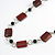 Mahogany Brown Wood and Black Ceramic Bead Cotton Cord Long Necklace - 94cm L - view 3