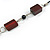 Mahogany Brown Wood and Black Ceramic Bead Cotton Cord Long Necklace - 94cm L - view 4